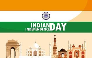 festa dell'indipendenza indiana con monumenti di bandiera ed edifici vettore