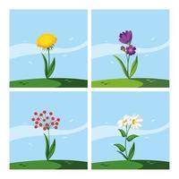 set di bellissimi fiori primaverili vettore