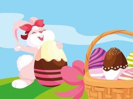 coniglio femminile e cesto di uova di Pasqua decorate con caramelle vettore