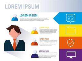 uomo d'affari con icone infografica e business