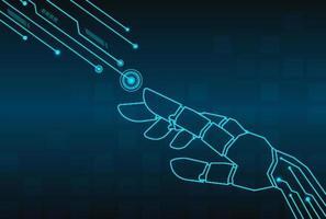 Vettore di tecnologia di connessione mano robot.