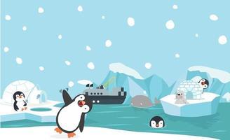 Panorama di animali del Polo Nord vettore