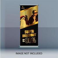 Banner roll up con ritaglio diagonale per immagine vettore