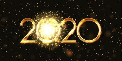 Banner di felice anno nuovo con fuochi d'artificio design vettore