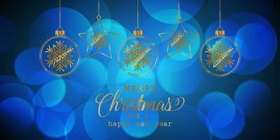 Banner di Natale con palline appese vettore