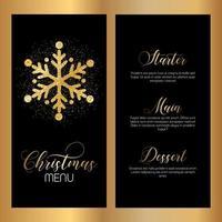 Menu design natalizio con fiocchi di neve glitterati