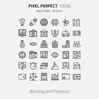 Pixel perfetto Set di 36 icone di attività bancarie e finanziarie vettore