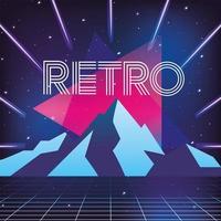 stile al neon geometrico e sfondo di montagne di ghiaccio