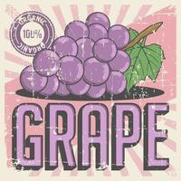 Retro vettore d'annata del contrassegno dell'uva