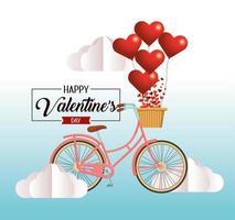 bicicletta con cuori e nuvole decorazione di San Valentino vettore