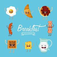 Set di alimenti per la colazione dei cartoni animati vettore