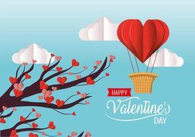 Albero con i fiori e l'aerostato di aria dei cuori del biglietto di S. Valentino vettore