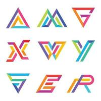 Set di lettere colorate tipografia vettore