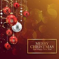 Sfondo di Natale con palline rosse