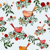 Tema di uccellino di buon Natale vettore