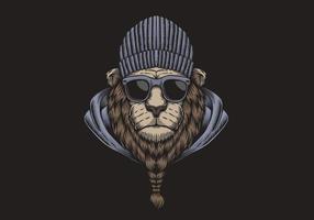 Illustrazione di vettore degli occhiali della testa del leone