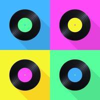Icone Pop di dischi in vinile di vecchia scuola vettore