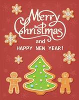 Cartolina di Natale con Pan di zenzero vettore