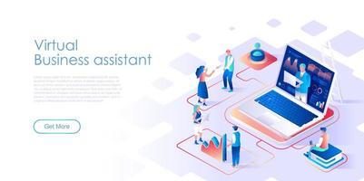 Modello isometrico di vettore della pagina di destinazione dell'assistente virtuale di affari