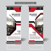 arrotolare il modello di banner con ritaglio di forma geometrica rossa e nera