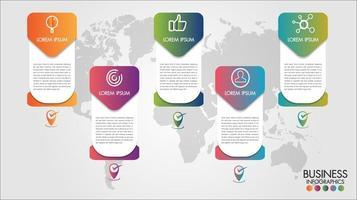 Opzioni di passo dell'insegna 5 di infographics di affari della mappa di mondo