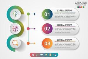 Infographics di affari tre passaggi creativi moderni passo dopo passo vettore