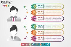 Avatar di simbolo degli uomini e delle donne del modello di Infographics con le icone messe vettore