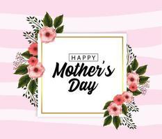 Biglietto festa della mamma con piante di fiori tropicali vettore