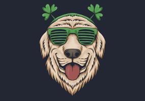 Testa di cane con occhiali da sole design di San Patrizio vettore