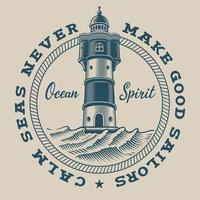 Emblema nautico vintage con un faro