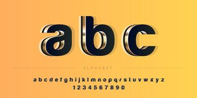 Insieme di alfabeto di tema 3D di colore profondo audace astratto vettore