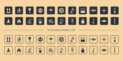 Set di simboli di imballaggio del cartone vettore