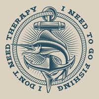 Emblema nautico vintage con marlin e ancora