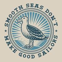 Emblema nautico vintage con un gabbiano vettore