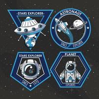 Set di Space explorer patch emblemi con astronauta e astronavi