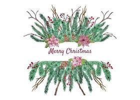 Composizione floreale natalizia vettore