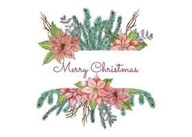 Insegna del messaggio di Natale con i fiori della stella di Natale
