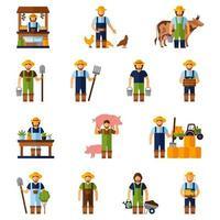 set di icone piane di agricoltura degli agricoltori vettore
