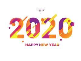 Priorità bassa bianca del testo variopinto di nuovo anno 2020 vettore