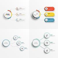 Impostare 3 modelli di infografica del grafico delle opzioni con etichetta, cerchi integrati vettore
