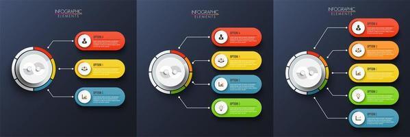 Set di modello grafico infografica con etichetta, cerchi integrati vettore