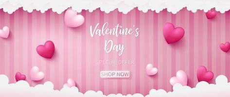 Banner di San Valentino composto da due colori di tono dei cuori vettore