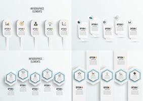 Set 5 Opzione modello infografica con etichette in carta 3D, cerchi integrati vettore
