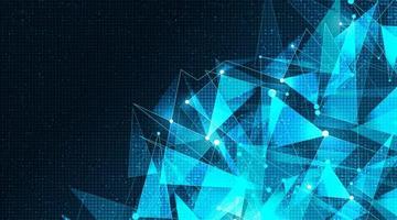 Tecnologia cyber futuristica poligono su sfondo di microchip. vettore