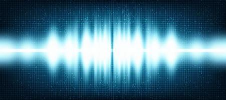 Luce digitale onda sonora su sfondo di tecnologia.
