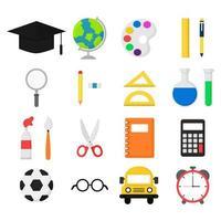 Set di elementi di materiale scolastico vettore