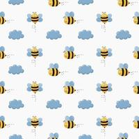 Fumetto senza cuciture dell'ape del bambino del modello vettore