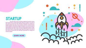 Banner web design piatto moderno di avvio e lavoro di squadra