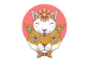 Illustrazione di Cat Father e del bambino vettore
