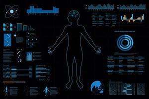 Cruscotto futuristico con elementi di contorno e grafico di persona